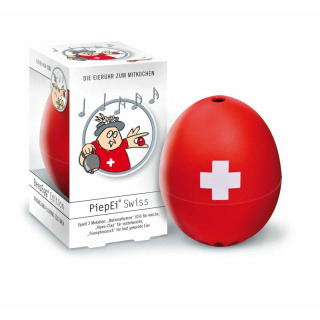 PiepEi Swiss, in Panoramabox, rot mit Druck (Nationalhymne / Alpenclap / Triumphmarsch)